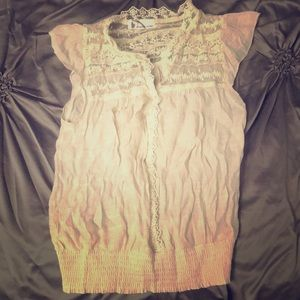 Sheer lace sleeveless blouse